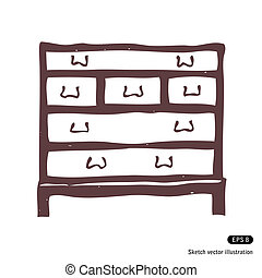 Chest of drawers. Isolated