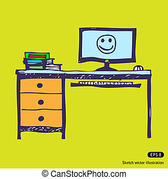 Computer desk. Hand drawn vector illustration on white