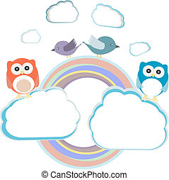 Background with couple of owls sitting and birds on cloud
