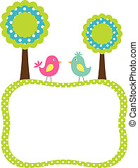 Vector frame with birds and trees