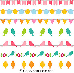Vector bunting and birds borders collection