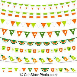 Irish flag themed vector bunting and garland set
