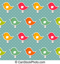 Seamless vector pattern with colorful birds
