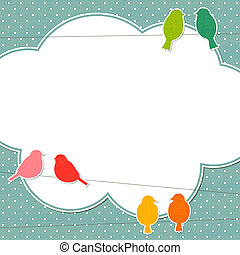 Frame with colorful birds, vector EPS10