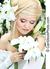 Portrait beauty make up of blonde young woman with white...