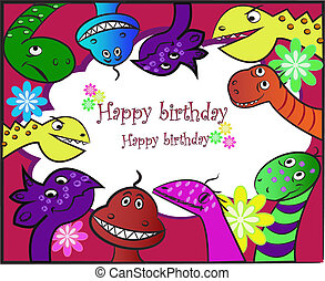 Bright ridiculous dinosaurs - Multi-colored bright...