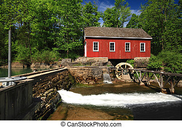 Historical building of Old water sawmill and small dam -...