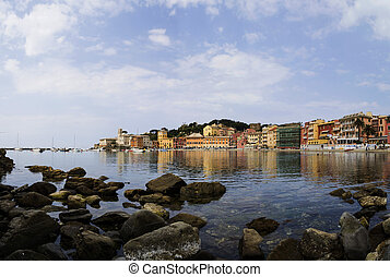 Silence bay in Sestri Levante, famous small town in Liguria,...