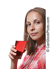 Young woman with glass of red drink, isolated