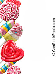 sweet candy - Colourful lollipop isolated on the white...