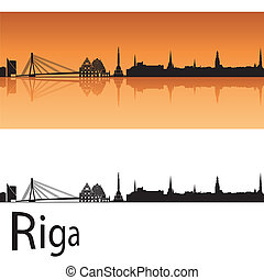 Riga skyline in orange background in editable vector file