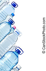 Bottles of water isolated on the white with copy spase