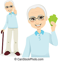 Happy Senior Man - Happy successful senior man holding money...