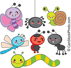 Happy Little Bugs - Collection of cute funny colorful happy...