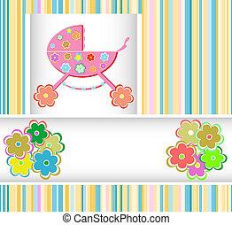 Stroller of flowers for girls