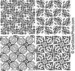 Set of 4 seamless patterns. Monochrome geometrical patterns
