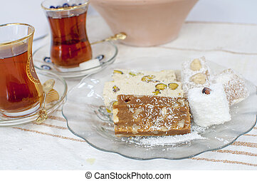 Turkish sweet confectionery - tahini halva and turkish...