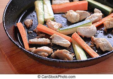 Preparing a chicken stir fry