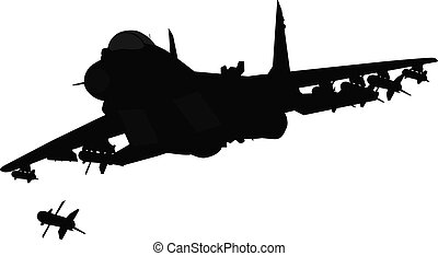 Aircraft silhouette - Flying jet fighter firing missile...