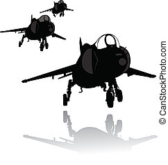 Landing plane silhouette - Vector silhouette of VTOL fighter...
