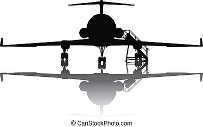 Aircraft silhouette - Private jet plane with ramp. Separate...