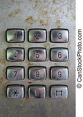 old phone keypad numbers - old payphone dirty keypad numbers...