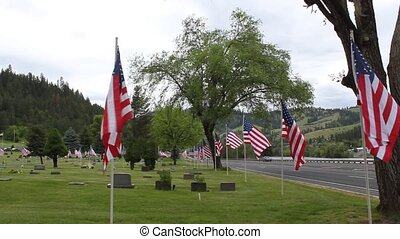 Memorial Day Flags - The local cemetery has lined the road...