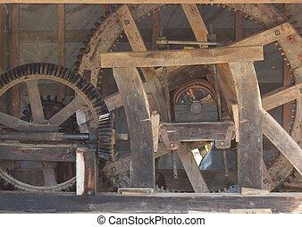 old watermill mechanism - cogwheels - old watermill...