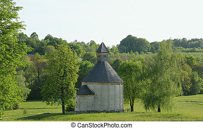medieval rotunda church in Selo - landscape with romanesque...