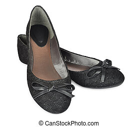 ballet flat - Pair of black female ballet flat isolated on...