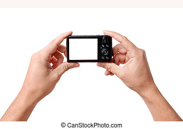 Hands holding digital photo camera - Hands holding compact...