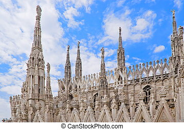 Spiers of the Cathedral of Milan - A view of the spiers of...