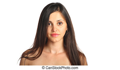 attractive young woman on white