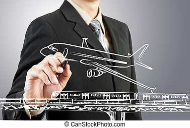 Business man draw train, plane  transportation and cityscape