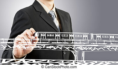 Business man draw train transportation and cityscape
