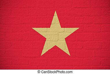 Vietnam flag on brick wall