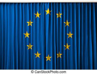European Union flag on curtain