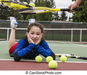 Tennis Rite of Passage Ceremony to Group - Young girl being...