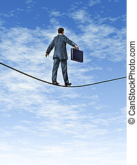 Business man Walking A Tightrope - Business man with a...