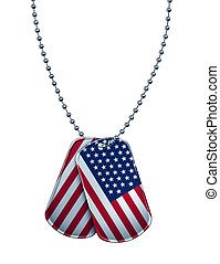 American Dog Tag - American military dog tag with the flag...