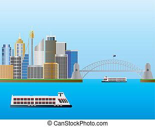 Sydney Australia Skyline Illustration - Sydney Australia...