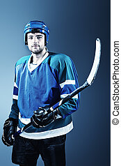 professional sport - Portrait of a handsome ice-hockey...