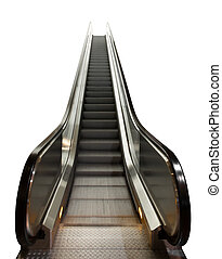 escalator or moving ramp stairs isolated on white