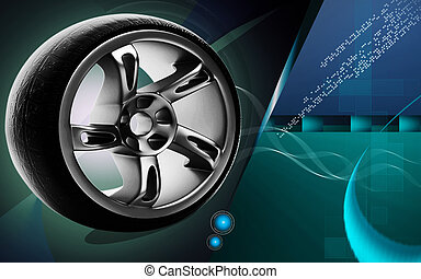 Alloy wheel - Digital illustration of Alloy wheel in colour...