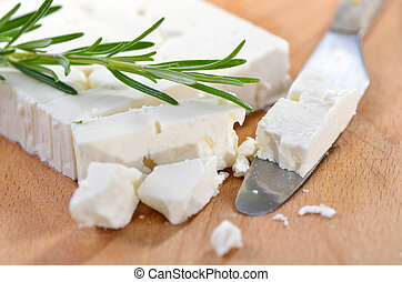 Greek feta cheese - Typical Greek feta cheese made of goat...