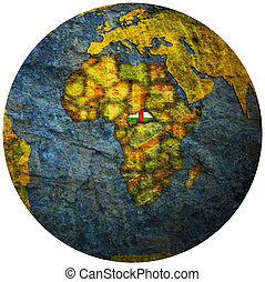 central african republic flag on globe map
