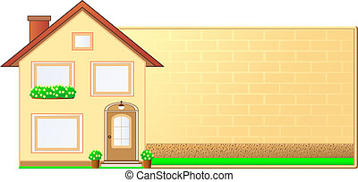 background with house, flower and b