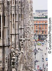 Gargoyles of the Cathedral of Milan - A view of the...