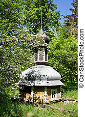 Church dome in forest