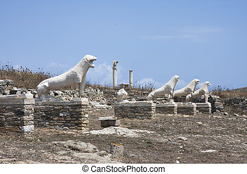 Terrace of the Lions on Delos - Archaic statues of lions on...